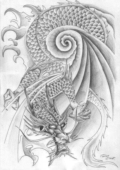 Traditional japanese dragon in swirly water tattoo design - Tattooimages.biz