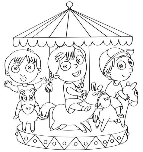 disegno da colorare bambini sulla giostra disegni