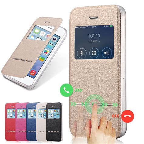 phone cases for iphone 5s luxury view window pu leather for iphone 5 phone