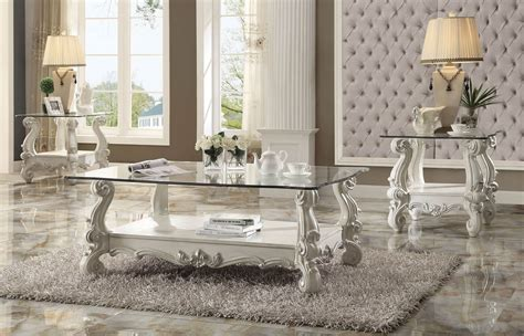 3 Piece Acme Versailles Glass Top Coffee Table Set Bone