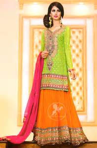 pink dresses bright green shirt orange lehenga pink dupatta for mehndi