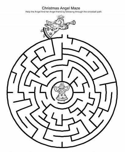 Christmas Printable Activities Games Maze Mazes Children