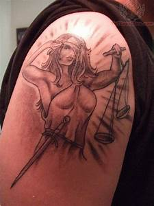Lady Justice Tattoo On Shoulder
