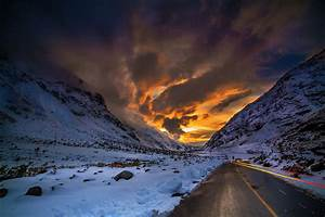 Nature, Landscape, Road, Mountain, Sunset, Winter, Snow, Clouds, Sky, Chile, Wallpapers, Hd