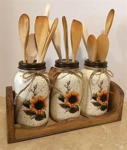 Mason, Jar, Utensil, Holders, Mason, Jar, Kitchen, Decor, Sunflower, Decor, Sunflowers, Mason, Jars