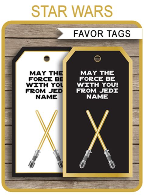 gold star wars favor tags template   tags