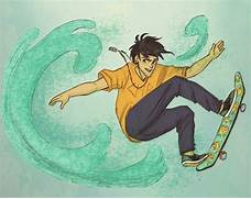 Percy Jackson on a skateboard.... Lol. Art by Andythelemon, colored by ...
