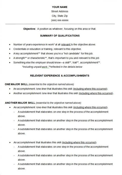 Functional Resume by Free Functional Resume Template Shatterlion Info