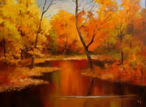 Watercolor Painting Fall Landscape Autumn