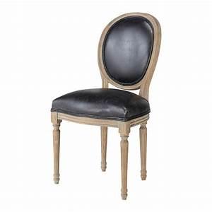 Chaise Vintage Cuir : chaise m daillon en cuir et ch ne massif noire louis maisons du monde ~ Teatrodelosmanantiales.com Idées de Décoration