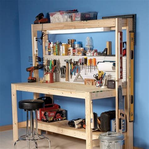 diy workbench  small pegboard panel   home