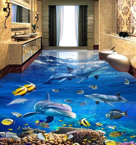 vinyl flooring customized photo wallpaper sea world