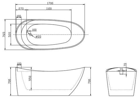 baignoire ilot ovale 170x76 cm acrylique tilos