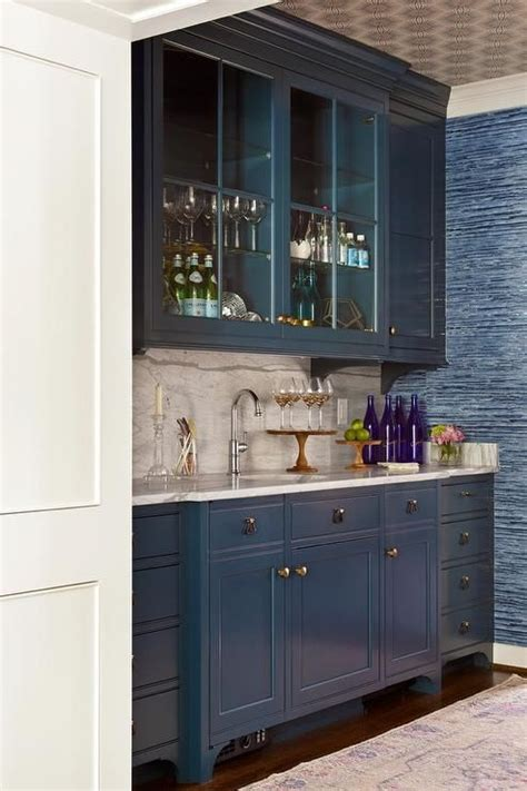 Bar Sink And Cabinets by Blue Bar Boasts Blue Glass Front Cabinet Suspended