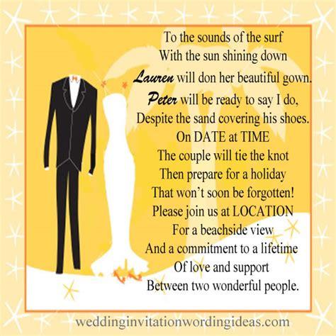 beach wedding invitation wording   write