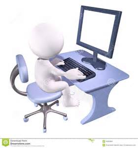 3D Man Working On Computer