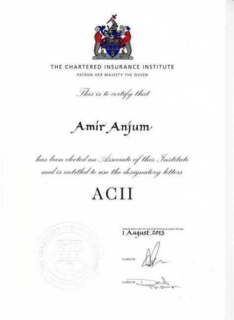 Chartered insurance institute (cii) this is the professional and educational. ACII Degree