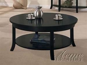 gardena black wood round coffee table w shelves the With black round coffee table set