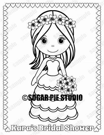 Coloring Shower Bridal Party Favor Printable