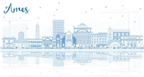Outline Ames Iowa Skyline With Blue Buildings And Business Cards Metallic Logo Letterpress Brisbane Simple Black Real Estate And Green Best Engineering Abstract On Amazon