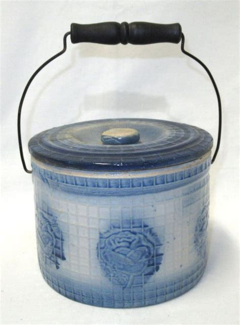 blue white butter crock butter blue white stoneware butter crock
