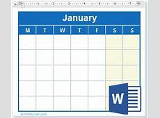 Free 2019 Word Calendar Blank and Printable Calendar