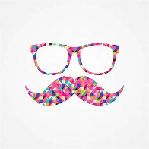 Funny Girly Pink Abstract Mustache Hipster Glasses Art