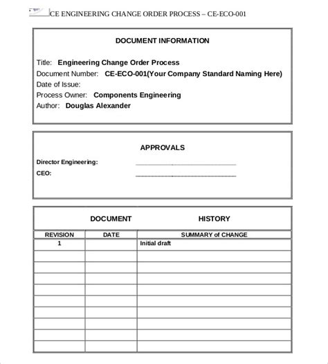 Change Order Template Change Template Engineering Change