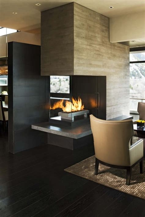 sided fireplaces   home pinterest modern