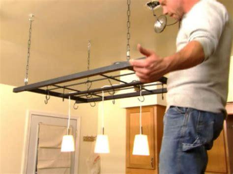 build a hanging pot rack hgtv