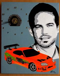Dessin Fast And Furious : 0932 horloge canvas 33 40 cm hommage paul walker fast and furious aso idark dessin et portrait ~ Maxctalentgroup.com Avis de Voitures