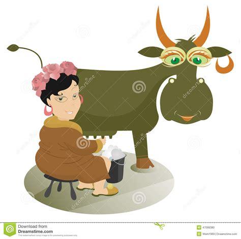 Cow Girl Milking Cartoon