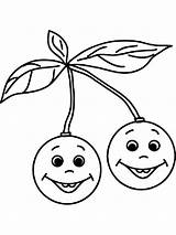 Cherry Coloring Pages Fruits Printable Recommended Children Mycoloring sketch template