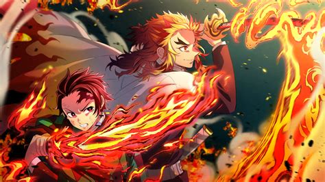 kimetsu  yaiba tanjiro kamado  kyojuro rengoku flames