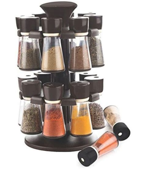 Spice Rack Containers by Magikware Black Revolving Spice Rack Container 16 Pcs Buy