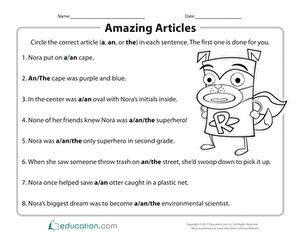 articles a and an worksheets for grade 3 corresponding
