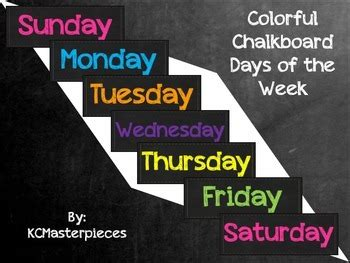 colorful chalkboard days   week signs