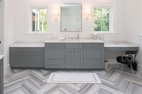 Gray Bathroom with Gray Marble Herringbone Floor Tiles
