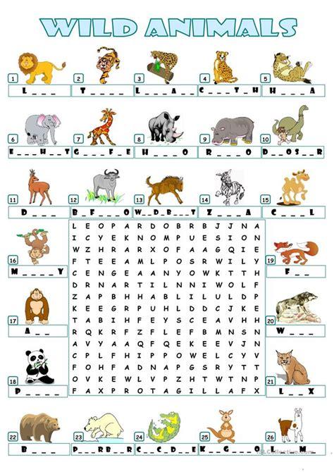 wild animals wordsearch worksheet  esl printable