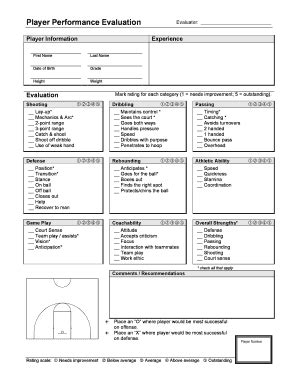 basketball player evaluation form basketball coach