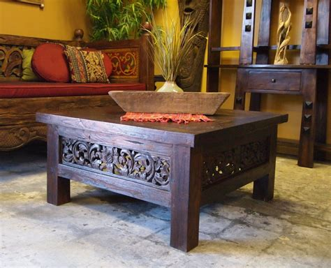 square carved panel teak coffee table carved daybed