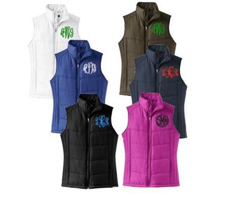 monogrammed ladies puffy winter vest