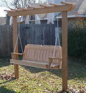New Cedar Wood Garden Arbor  U0026 4 Ft Porch Swing Stand Heavy