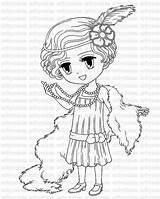 Coloring Flapper 1920s 1920 Pages Digital Stamp Drawing Printable Brittany Digi Stamps Line Card Colour Colouring Sold Getdrawings Supply Craft sketch template