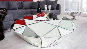 Table Basse Miroir : table de salon design miroir diamant facettes tove ~ Melissatoandfro.com Idées de Décoration