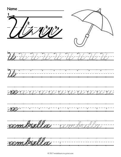 free printable cursive u worksheet cursive writing