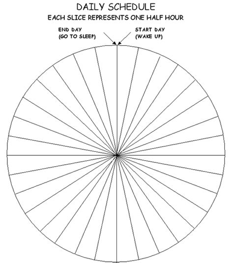 blank daily schedule wheel  section   hr