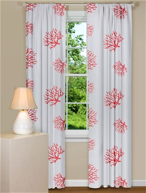 modern curtains coral white panel