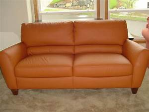 orange leather couch furniture homesfeed With orange leather sofa
