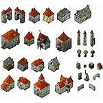 Medieval Map Houses Isometric Elements Fantasy Clipart